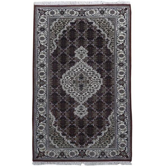 Harooni Rugs - Dazzling 2x5 Authentic Handmade Wool & Silk Tabriz Mahi Rug - India