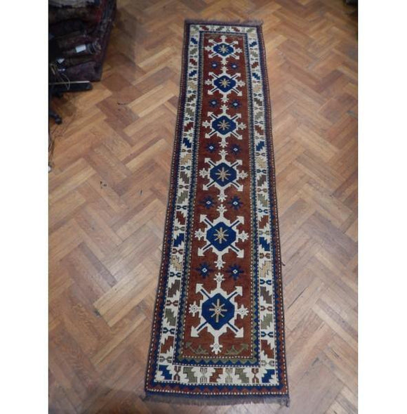 3x13 Authentic Hand Knotted Semi-Antique Russian Kazak Runner - Russia