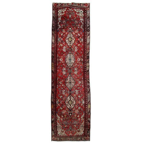3x11 Authentic Hand Knotted Persian Hamadan Rug - Iran