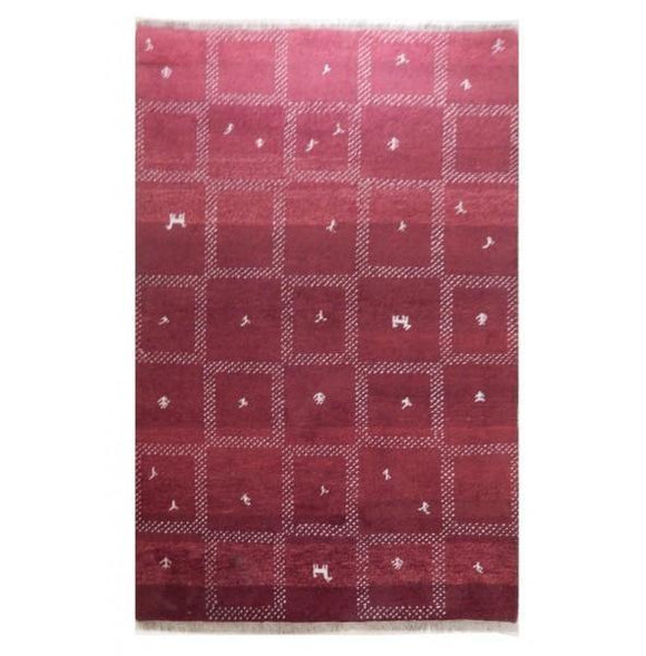 Harooni Rugs - Exotic 4x6 Authentic Hand-Knotted Modern Thick Gabbeh Rug - India