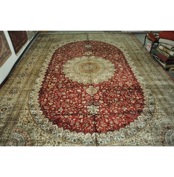14x20 Authentic Hand Knotted Silk Rug - China