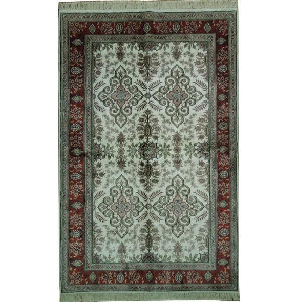 5x8 Authentic Handmade Kashmir Silk Rug - India