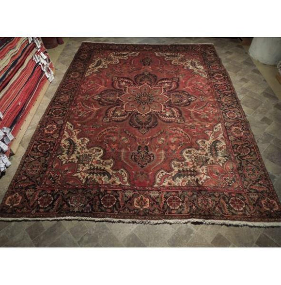 9x12 Authentic Hand Knotted Semi-Antique Persian Heriz Rug - Iran