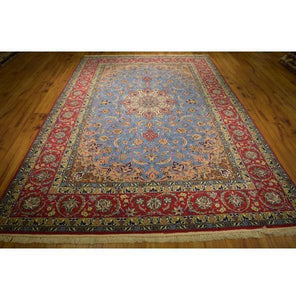 7x10 Authentic Hand Knotted High End Wool & Silk Persian Isfahan Rug - Iran