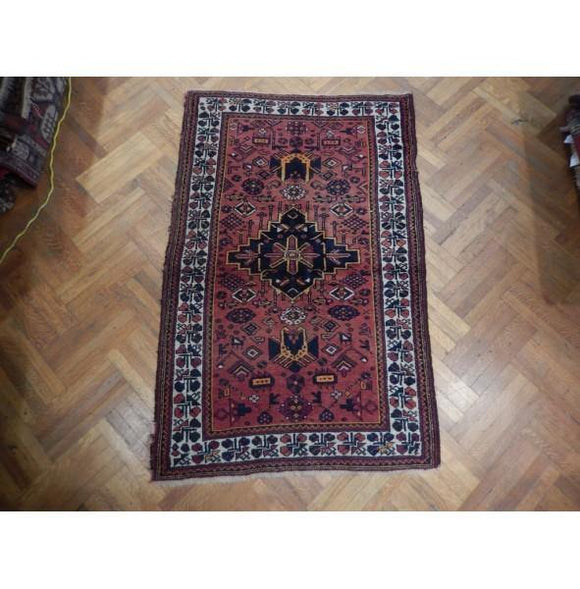 4x97 Authentic Hand Knotted Antique Russian Kazak Rug - Russia