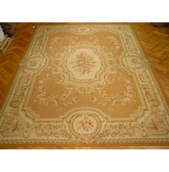10x14 Authentic Handmade Aubusson Rug