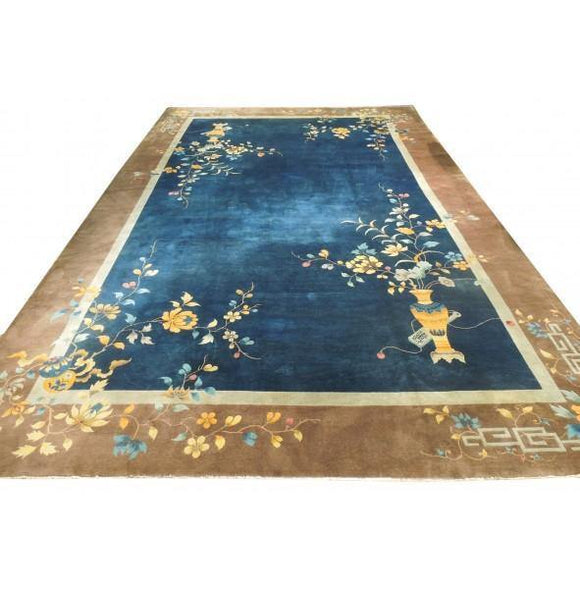 13x20 Authentic Hand-Knotted Antique Chinese Art Deco Rug - China