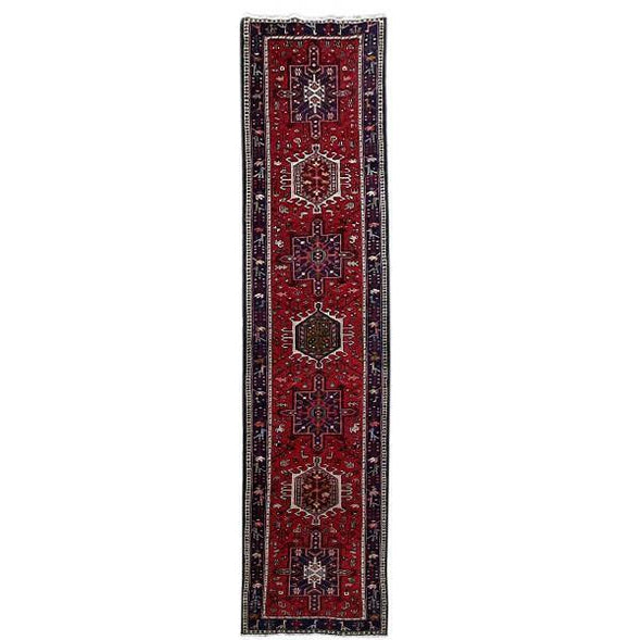 3x10 Authentic Hand Knotted Persian Karaja Rug - Iran