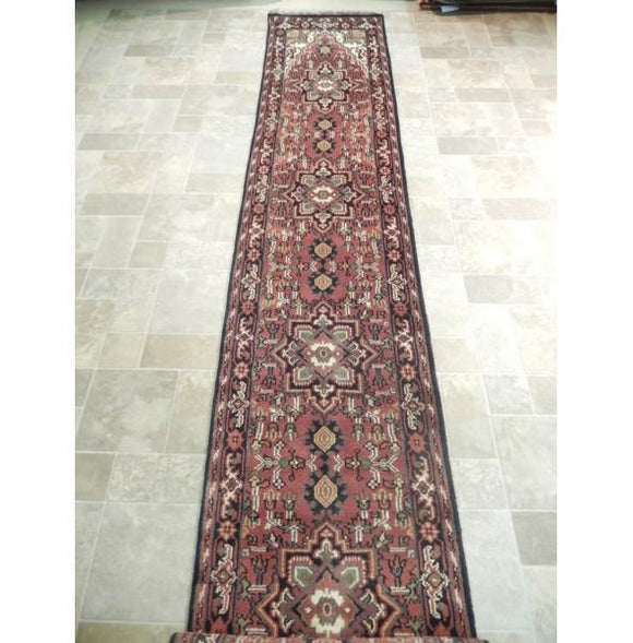 3x20 Authentic Hand Knotted Heriz Runner - India