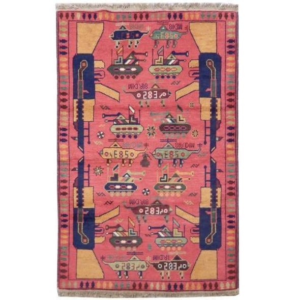 3x5 Authentic Handmade Afghan War Rug - Afghanistan