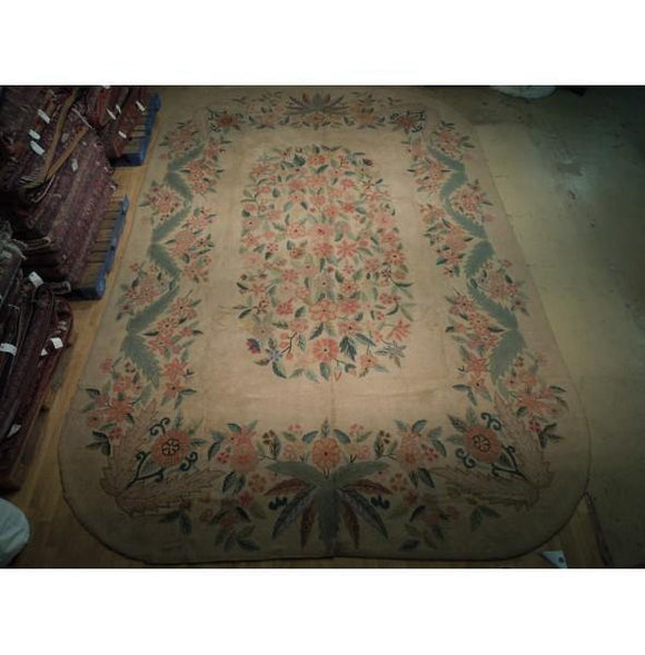 12x18 Authentic Hand Knotted Semi-Antique Hooked Aubusson Rug - China