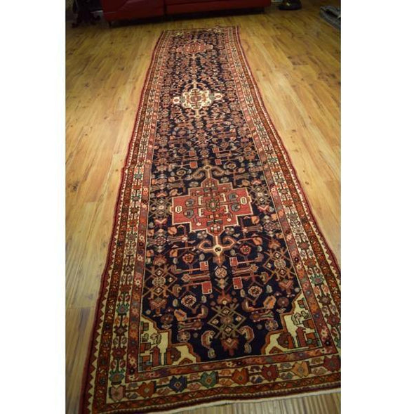 4x16 Authentic Hand Knotted Persian Hamadan Runner - Iran