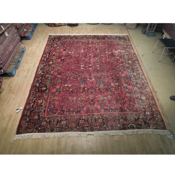 12x9 Authentic Hand Knotted Semi-Antique Persian Lilihan Rug - Iran