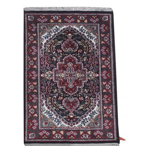 Harooni Rugs - Dazzling 2x3 Authentic Hand Knotted Jammu Kashmir Silk Rug - India