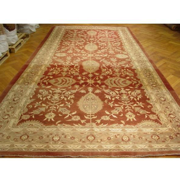 Dazzling 9x18 Authentic Hand Knotted Chobi Vegetable Dyed New Wool Rug - India