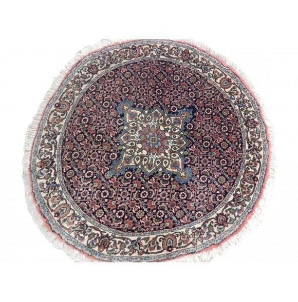 3x3 Authentic Hand-Knotted Fine Quality Persian Bijar Round Rug - Iran