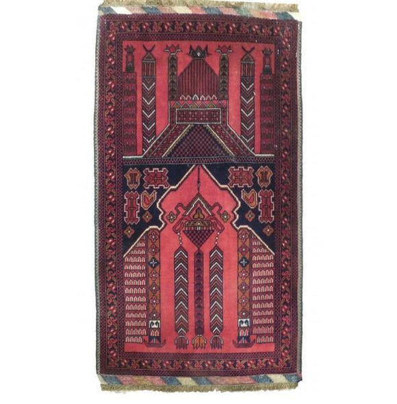 Luxurious 2x4 Authentic Hand-Knotted Mosque Design Tribal baluch Rug - Pakistan
