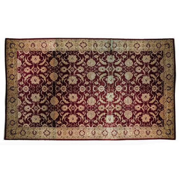 Radiant 19x28 Authentic Hand-knotted Silk Touch Chobi Peshawar Rug - Pakistan