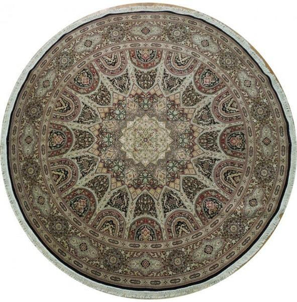 10x10 Authentic Handmade Round Wool & Silk Isfahan Rug - China