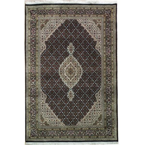 Dazzling 4x6 Authentic Handmade Tabriz Mahi Wool&Silk Rug - India