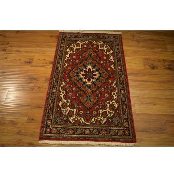 3x4 Authentic Hand Knotted Persian Ghom Rug - Iran