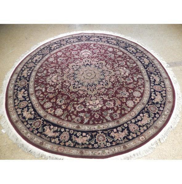 8x8 Authentic Hand-Knotted Wool & Silk Round Rug - China