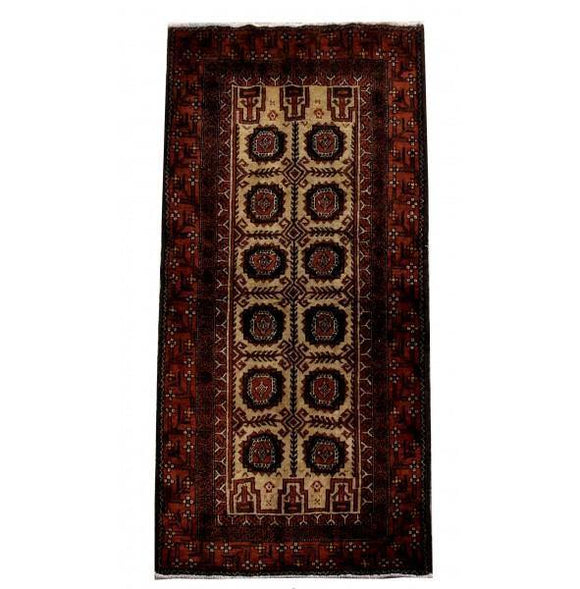 3x6 Authentic Hand Knotted Persian Hamadan Rug - Iran