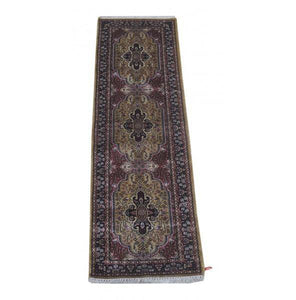 Harooni Rugs - Dazzling 2x7 Authentic Hand Knotted Jammu Kashmir Silk Rug - India