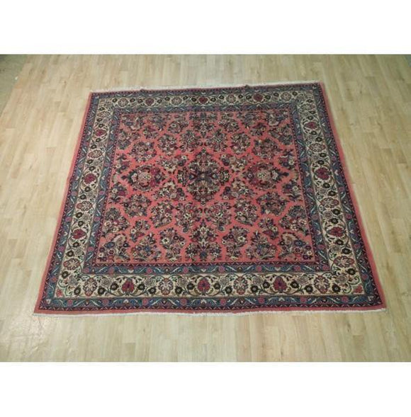 7x7 Authentic Hand Knotted Fine Persian Sarouk Rug - Iran