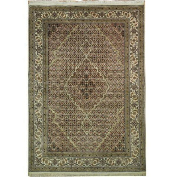 Dazzling 6x8 Authentic Handmade Tabriz Mahi Wool&Silk Rug - India