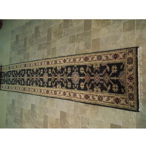 Harooni Rugs - Dazzling 3x20 Authentic Hand Knotted Traditional Mahal Runner - India