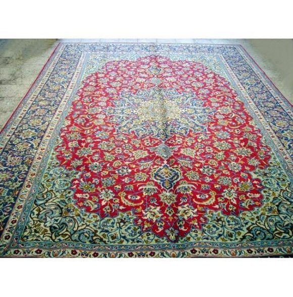 9x14 Authentic Handmade Semi Antique Persian Isfahan Rug-Iran