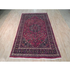 6x10 Authentic Hand Knotted Semi-Antique Persian Mashad Rug - Iran