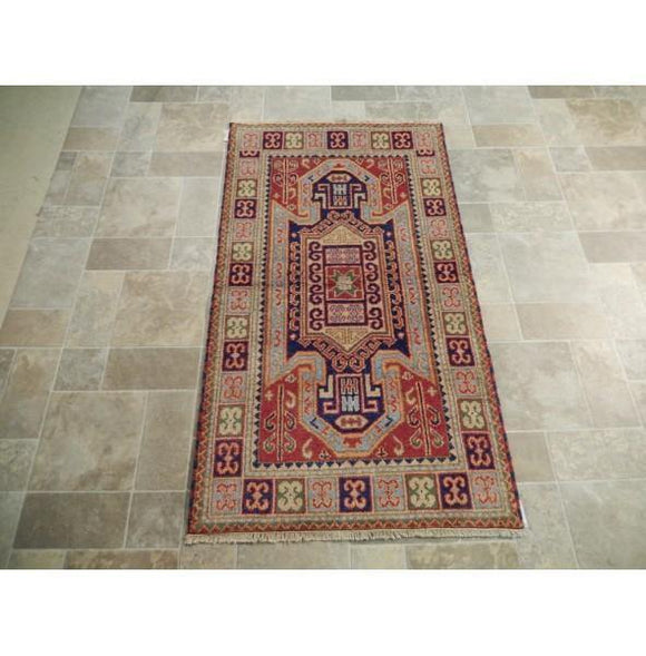 Harooni Rugs - Dazzling 3x5 Authentic Hand Knotted Eagle Kazak Rug - India