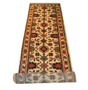 Harooni Rugs - Dazzling 3x10 Authentic Hand-Knotted Mahal Runner Rug - India