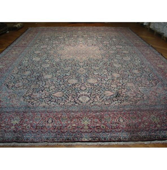 11x17 Authentic Handmade Persian Kerman Rug-Iran