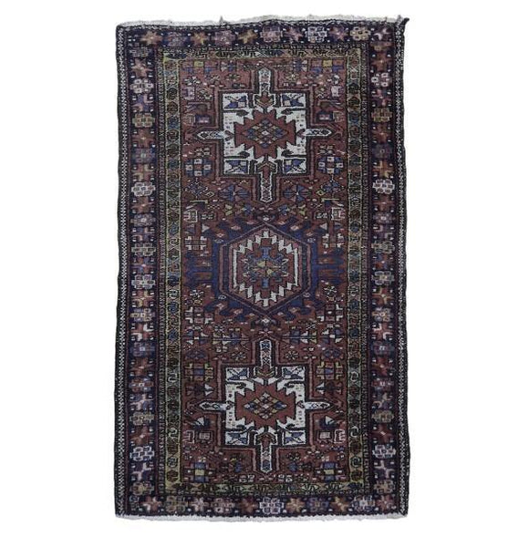 3x4 Authentic Hand Knotted Semi-Antique Persian Karaja Rug - Iran