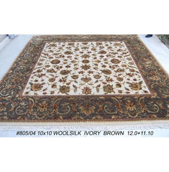 Fascinating 12x12 Authentic Handmade High Quality Silk Flower Antique Look Rug-India