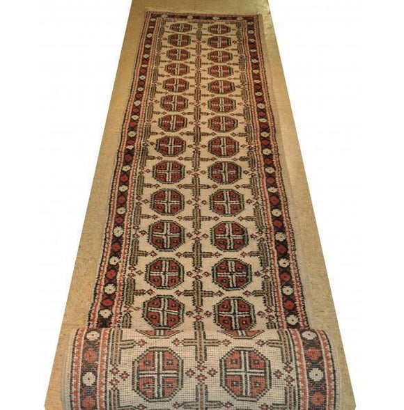 Harooni Rugs - Dazzling 3x20 Authentic Hand-Knotted Mahal Bokhara Runner Rug - India