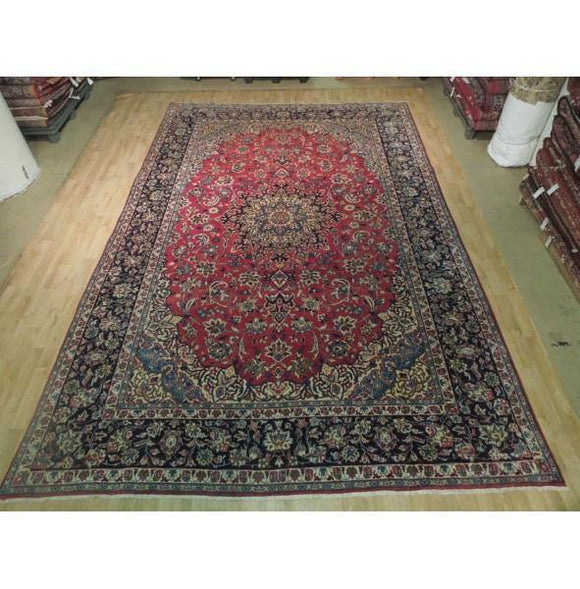 9x14 Authentic Hand Knotted Semi-Antique Persian Isfahan Rug - Iran