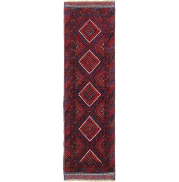 Luxurious 2x7 Authentic Hand-Knotted Tribal Baluch Mashwani Runner - Pakistan