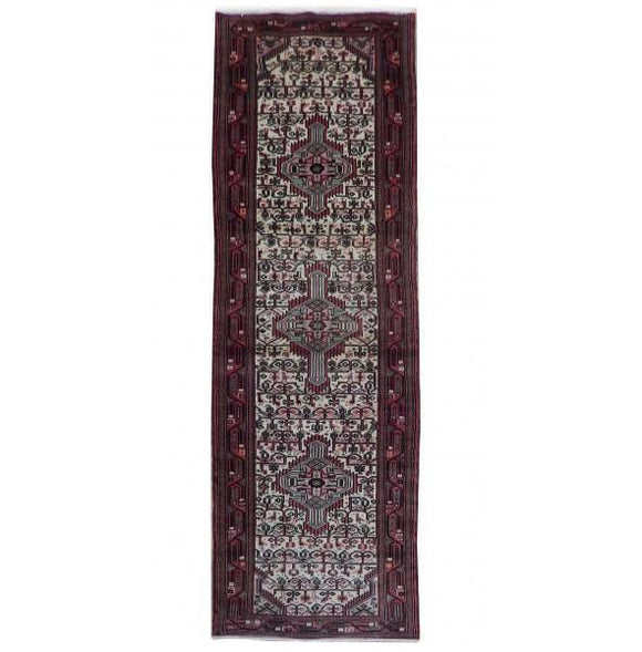 3x10 Authentic Hand Knotted Persian Hamadan Runner - Iran