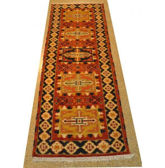 Harooni Rugs - Dazzling 2x6 Authentic Hand-Knotted Kazak Runner Rug - India