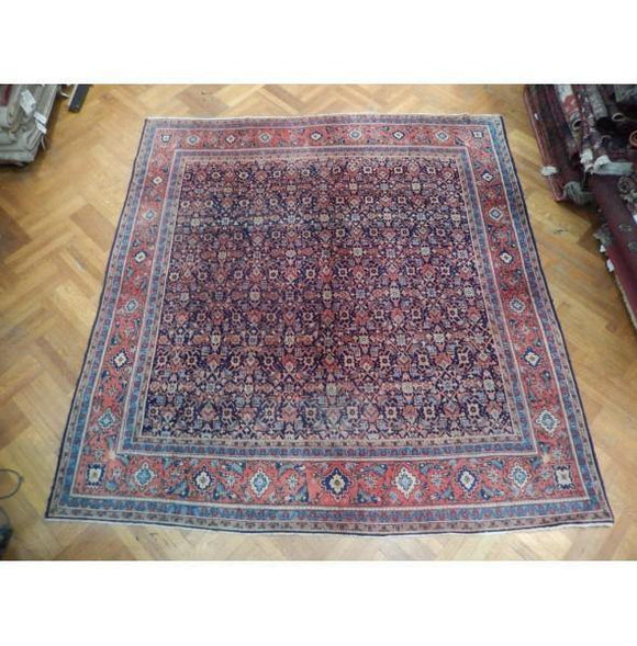 9x10 Authentic Hand Knotted Semi-Antique Persian Herati Rug - Iran