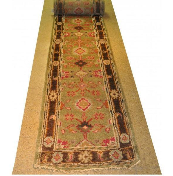 Harooni Rugs - Dazzling 3x20 Authentic Hand-Knotted Mahal Runner Rug - India