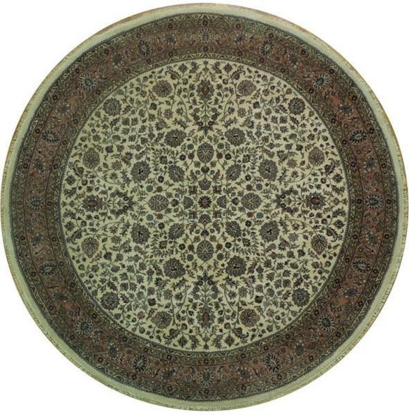 8x8 Authentic Handmade Agra Round Rug - India