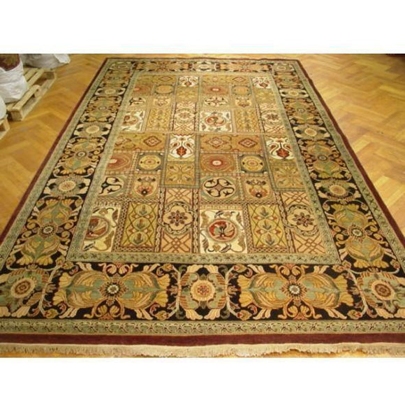 9x18 Authentic Hand Knotted Bakhtiari Jaipur New Wool Rug - India