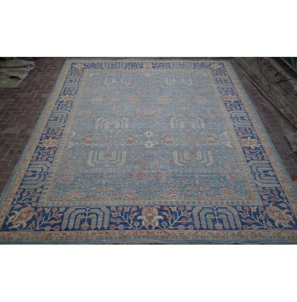 Radiant 13x15 Authentic Hand Knotted Vegetable Dyed Chobi Peshawar Rug - Pakistan
