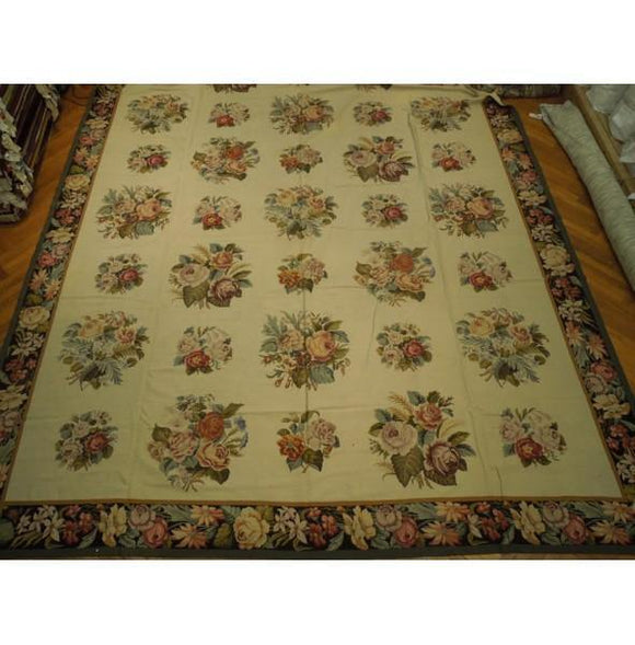 13x20 Authentic Handmade Needlepoint Flat Weave French Rug - China