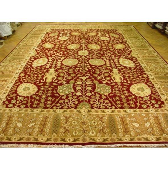 Dazzling 14x21 Authentic Hand Knotted Traditional Jaipur New Wool Rug - India